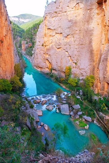 Mijares river and mountains in Montanejos Castellon at Spain photo