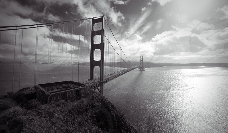 golden gate bridge gray scale photo photo