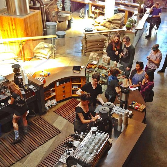Coffeeshop cafe espresso bar people queue  photo
