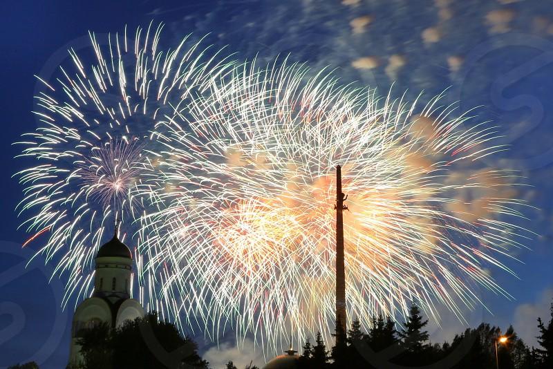 Firework . Holiday. City.  photo
