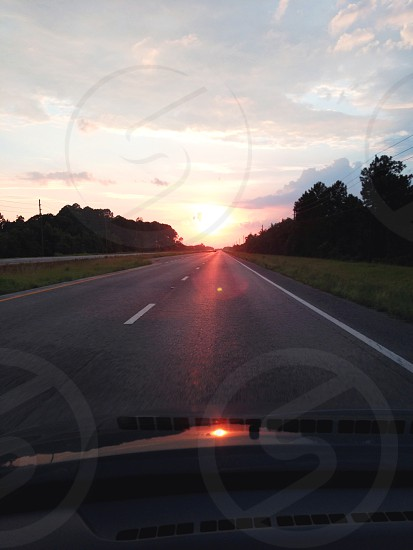 Traveling into the sunset. photo