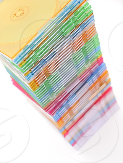 """""""Stack of disks isolated on white background  high angle view"""" photo"""