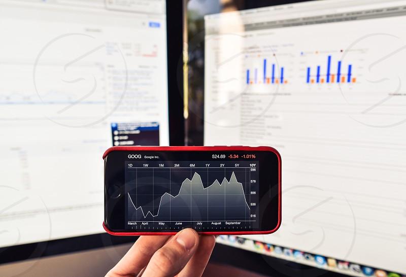 charts data technology iphone stock market trader photo