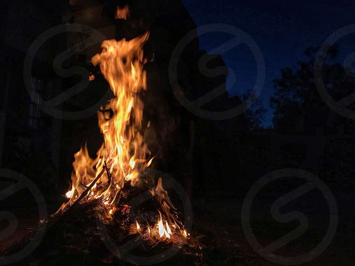 Fire flames on holi ka dhan photo