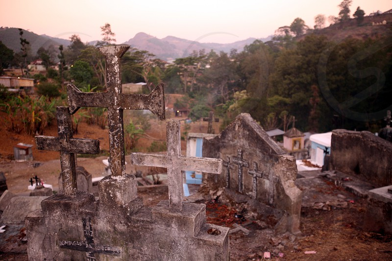 a traditional graveyard at the village of Moubisse in the south of East Timor in southeastasia. photo