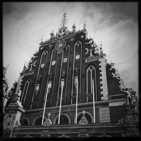 Outdoor day black and white monochrome Square filter house of the Blackheads Riga Latvia Europe European attraction architecture classic building Europe European travel tourism wanderlust photo