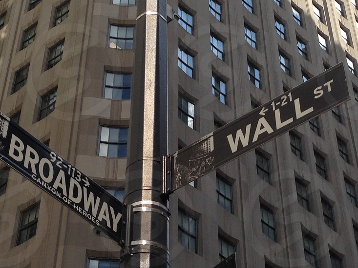 street signs at the corner of Wall St. and Broadway in New York's Financial District  photo