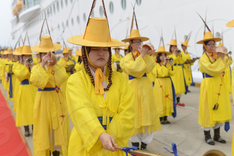 korean parade performance traditional parade korean culture culture asian parade asia beauty rich culture yellow theatrical pretty jeju island travel photo