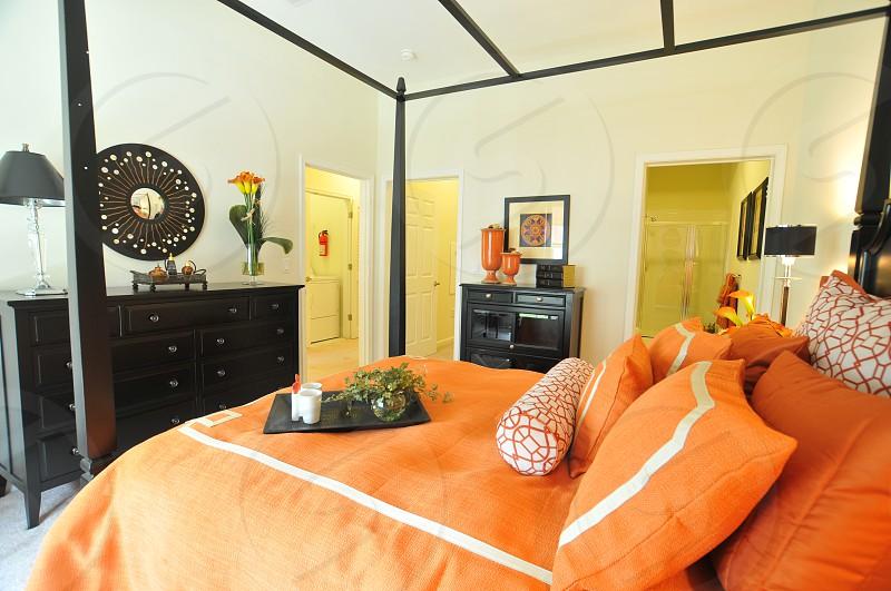Contemporary bedroom vibrant Coral photo