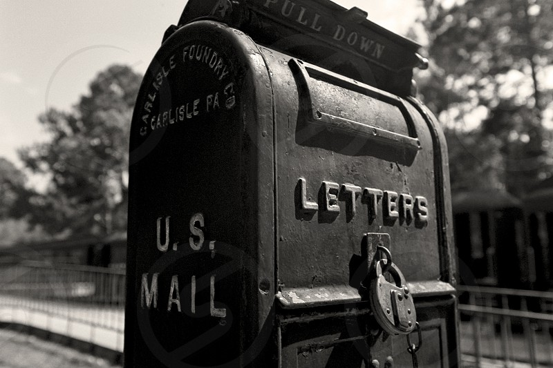 An Old US Mailbox at the Railroad Depot in Rusk Texas.  photo
