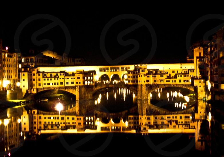 florence firenze ponte vecchio golden bridge italy river night windows photo