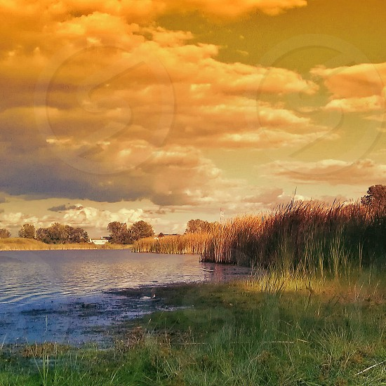 green grass orange sky and white clouds photo