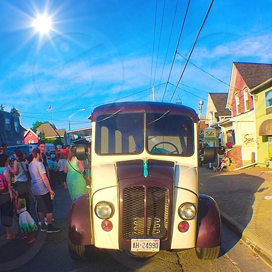 Summer festival street fair old car gelato sun fun bright colour Stouffville Ontario Canada small town  photo