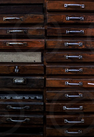 Details of an old wooden drawers retro style.  photo