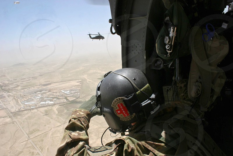 Flying into Afghanistan for my first mission on a Blackhawk.  photo