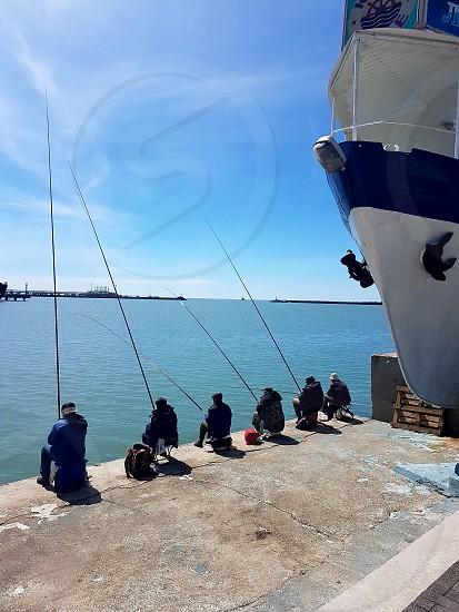 Fishing relaxation black sea ship port photo