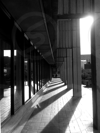 Sun rising on a university building. photo