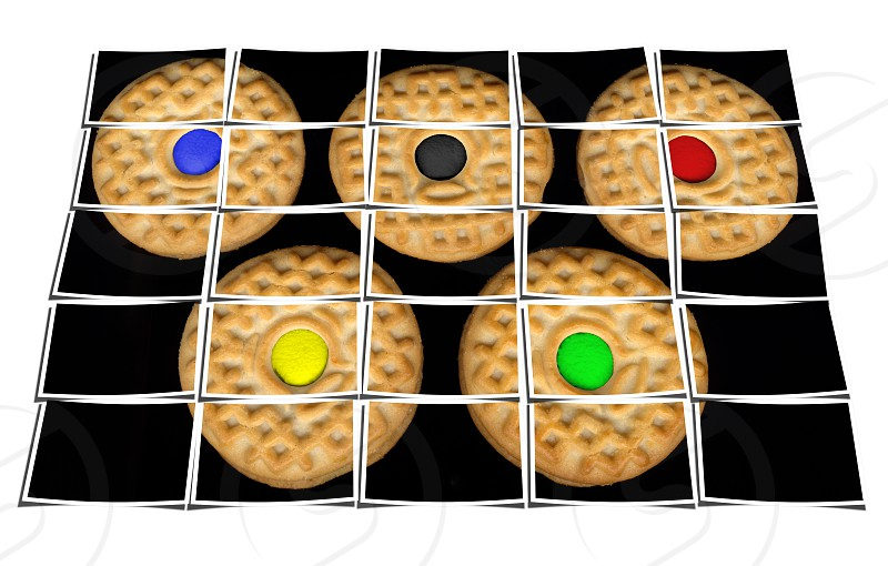 cookies collage composition of multiple images over white photo