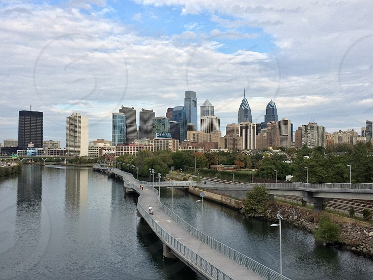The city of brotherly love shot from south street bridge. photo