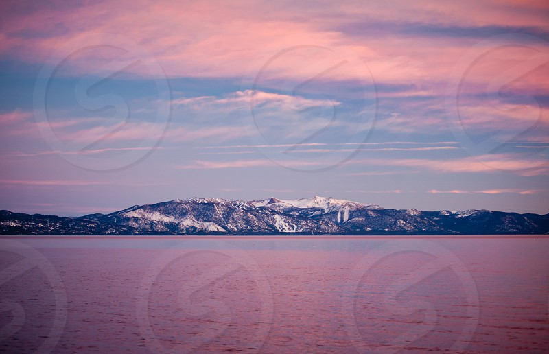 View of Heavenly Ski Resort from across Lake Tahoe in California photo