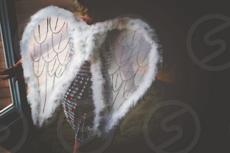 child running run girl child play angel flying photo