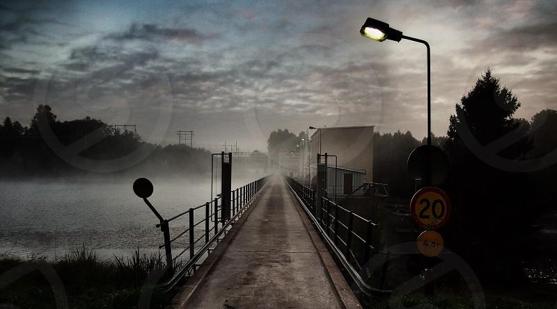 Power station fog morning bridge photo