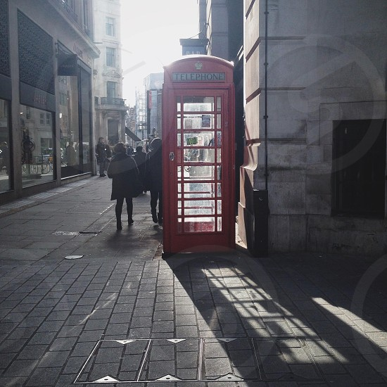 red telephone booth photo