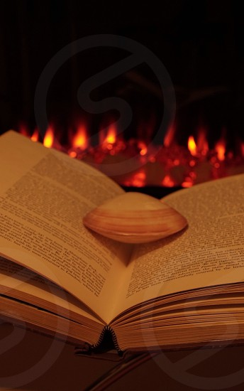 seashell on open book in front of fireplace photo