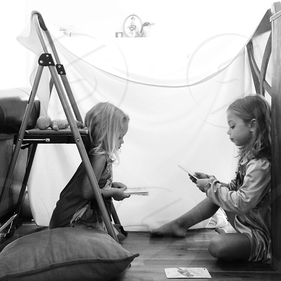Creative play fort kids sisters photo