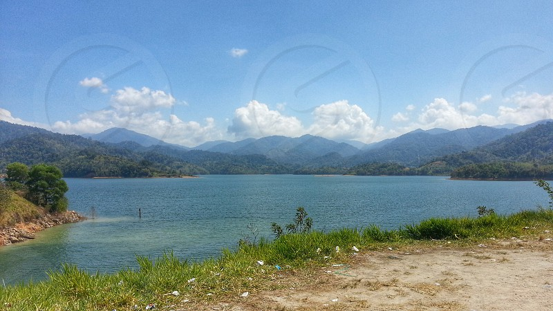 Stunning view of the mountains in the background enhanced the tranquility of Pertak Dam. photo