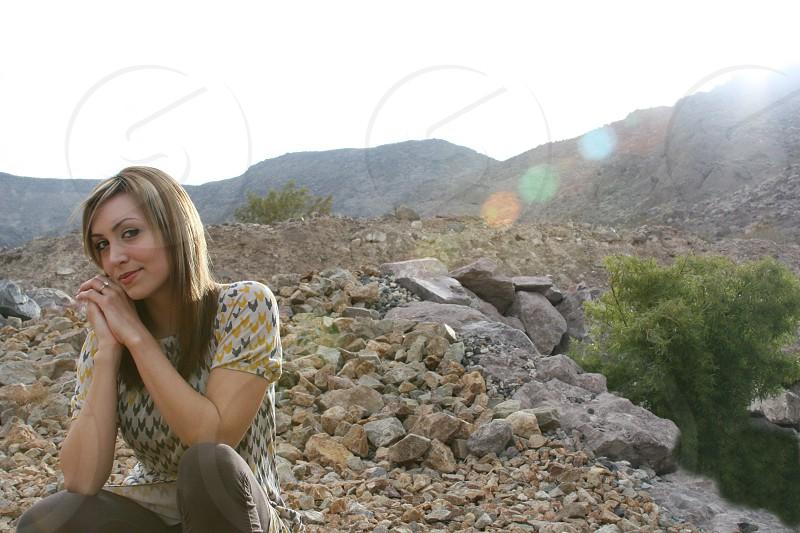 Girl in desert. photo