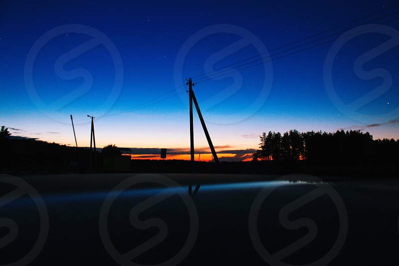 telephone pole silhouette photo photo