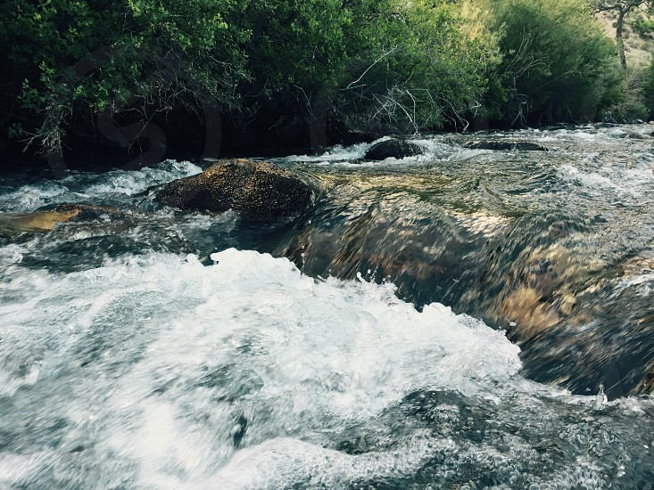 River water flowing white rocks summer photo