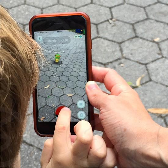 Pokemon go pokemon iPhone outdoor technology youth  photo