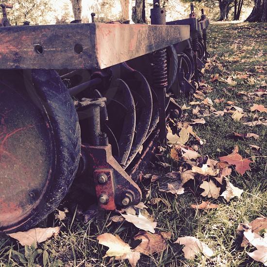 Farm equipment Autumn Fall leaves vintage photo