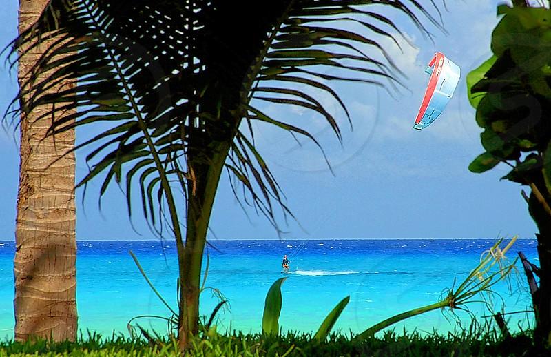 Kite boarding the Caribbean.  photo