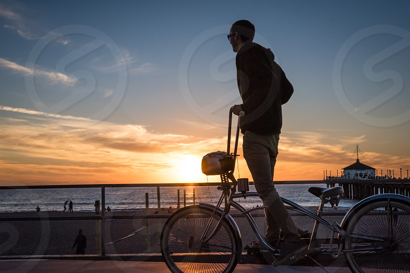 Low rider bike at sunset at the beach photo