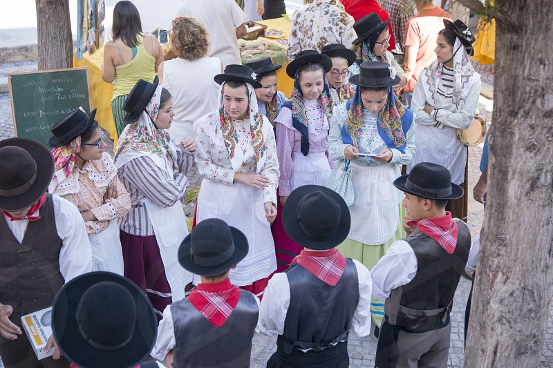 traditional potugese Dance at the Saturday Market in the town of Loule in the Algarve in the south of Portugal in Europe. photo