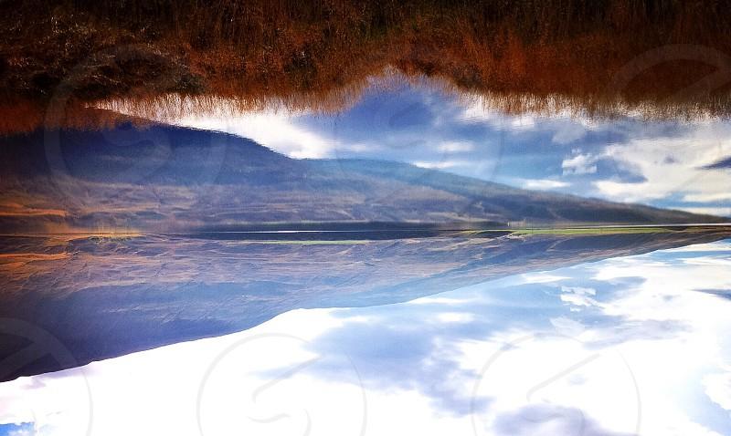 Upside down mirror grass lake photo