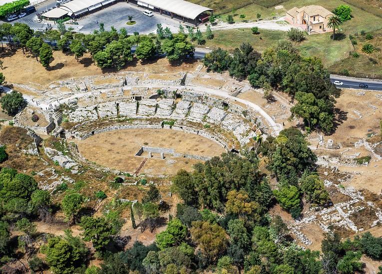 Roman amphitheater of Syracuse Sicily aerial view photo