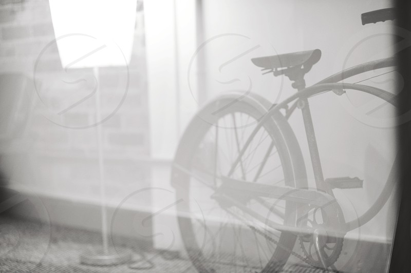 grayscale photography of cruiser bike photo