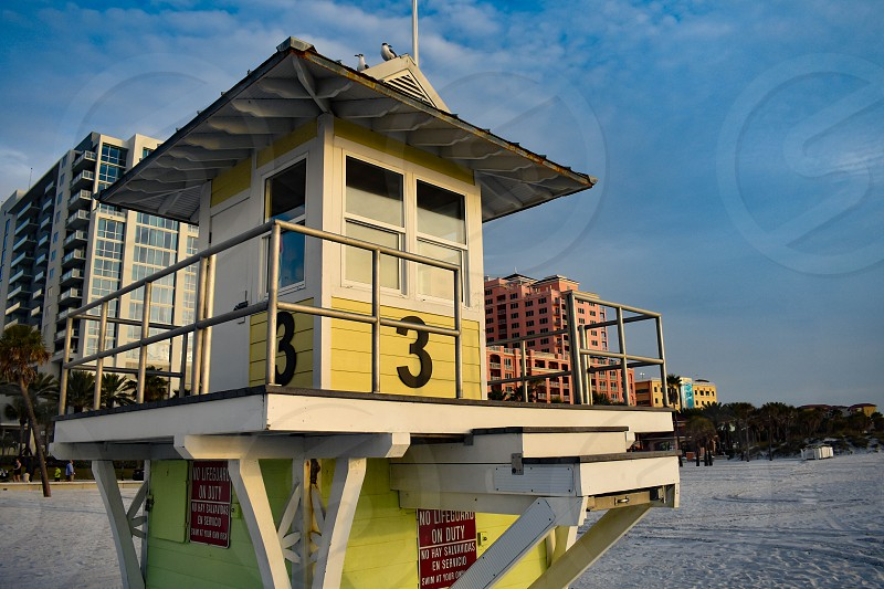 Clearwater Beach Florida. January 25 2019 . Top view of Lifeguard station in Gulf Coast Beaches. photo