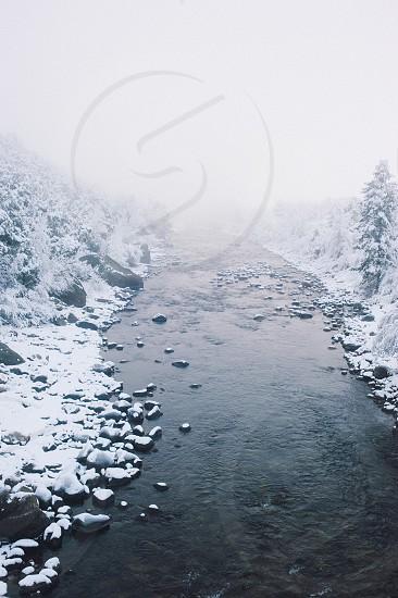 Foggy Winter River Buena Vista Colorado photo