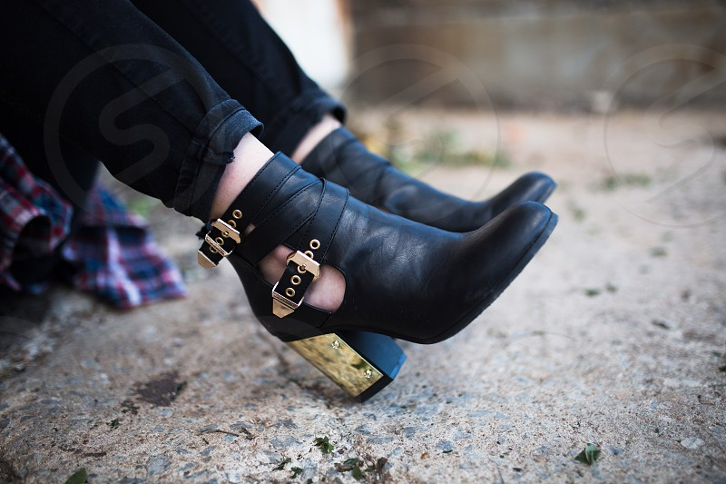 fashion shoes edgy gold heals girl street candid  photo
