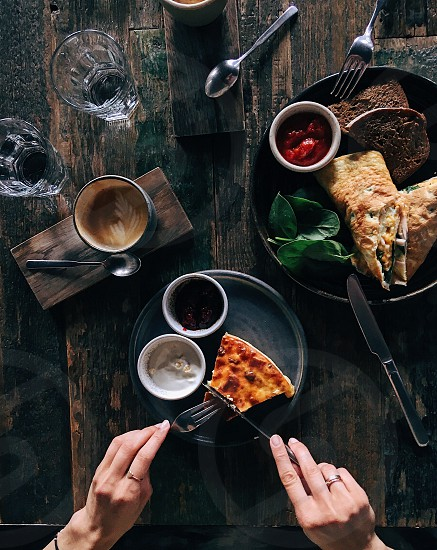 Top view of wooden table with yummy breakfast photo