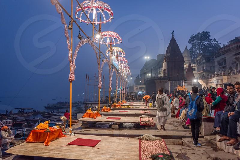 evening scene at Dashashwamedh Ghat Varanasi photo