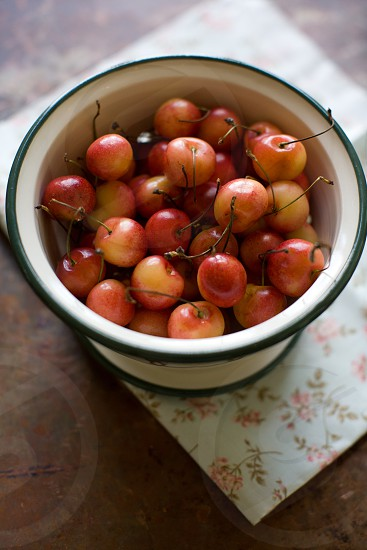 Cherries in a bowl food. photo