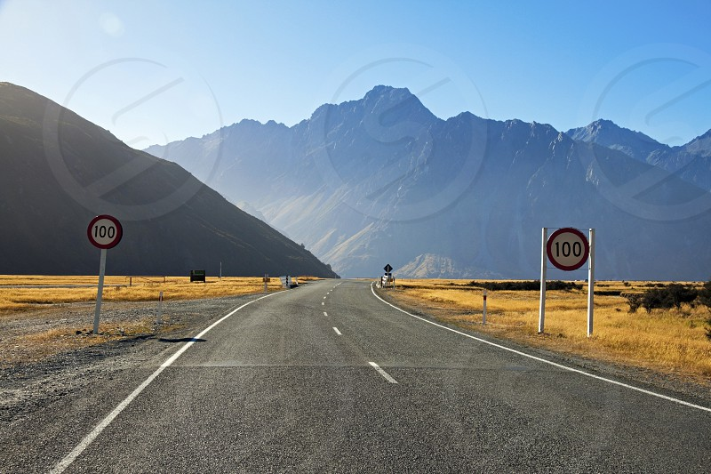 The road into Mount Cook New Zealand through the picturesque  Tasman Valley. photo