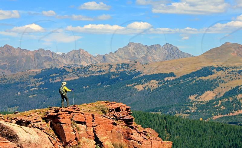 Hiker on Shrine Mountain Colorado photo