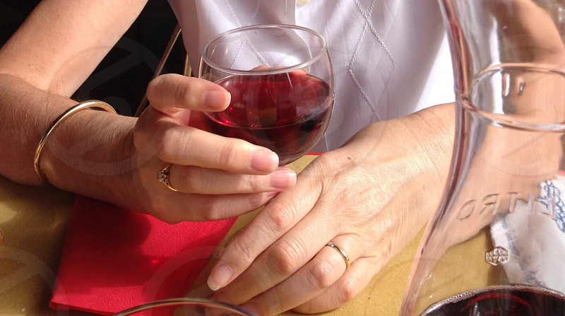 woman holding wine glass photo